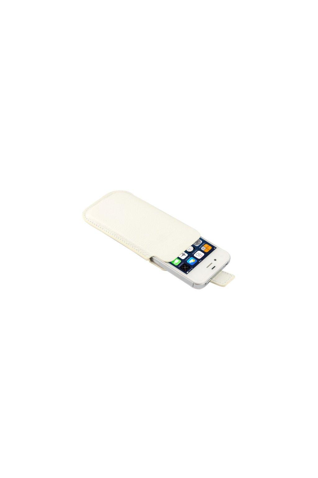 Kožené pouzdro Lichi iPhone 4/4S, white/bílá