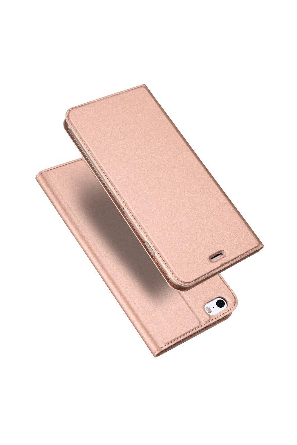 Flipový kryt Dux Ducis, iPhone SE/5s/5, růžově zlatý