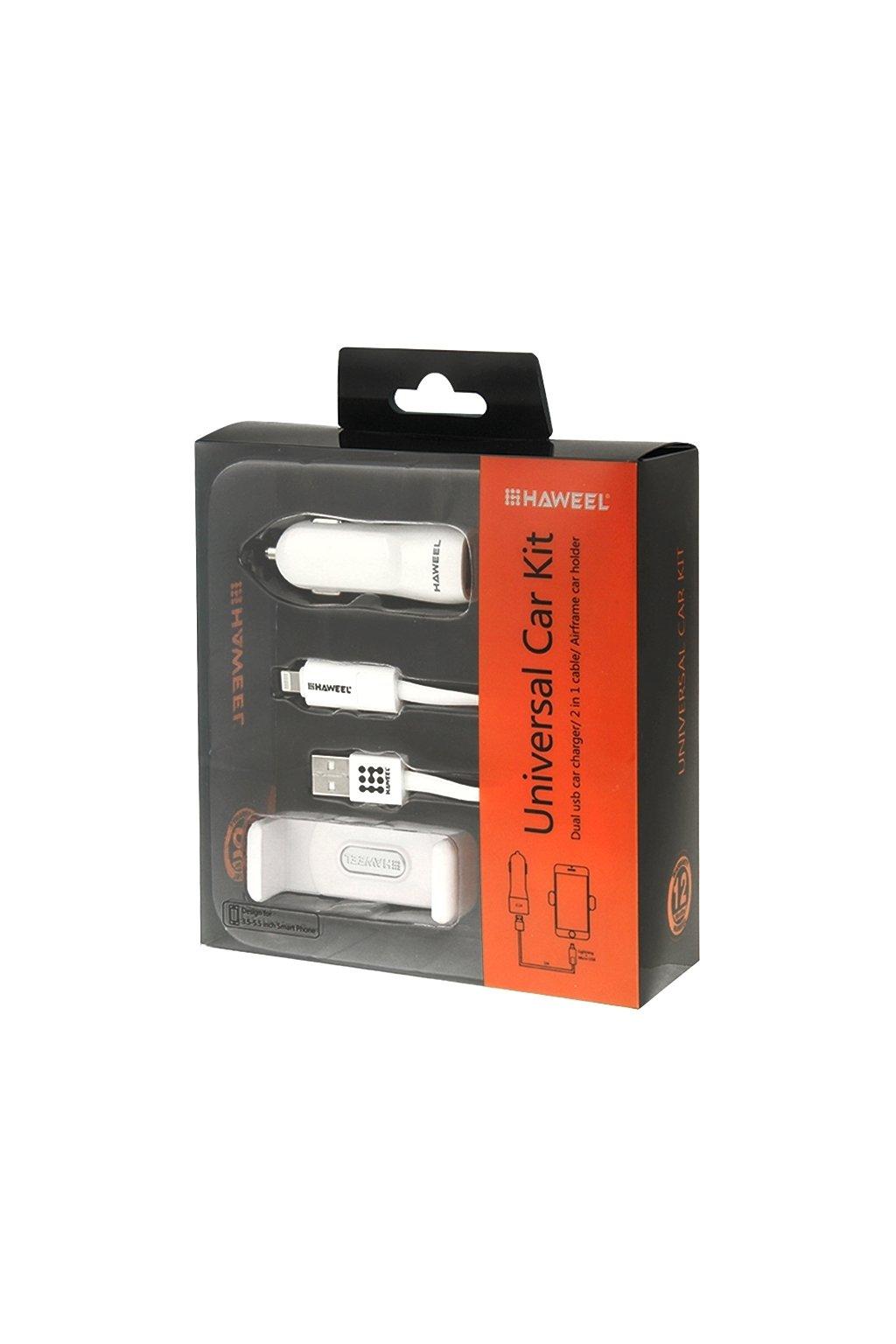 HAWEEL 3v1 (držák, USB kabel a nabíječka) do auta