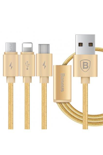USB 3v1 Baseus PORTMAN (Lightning, Micro USB a USB-C), gold