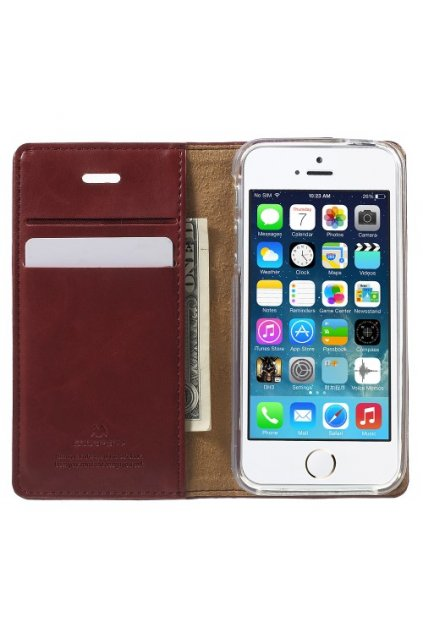 Pouzdro flip Mercury Apple iPhone 5/5S/SE, wine red