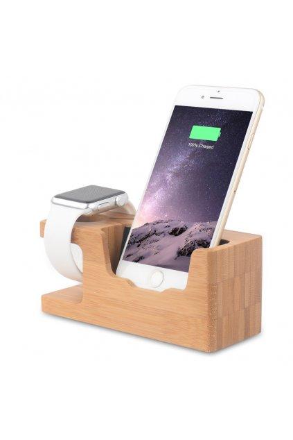 Nabíjecí stojánek z bambusu pro Apple iPhone a Watch 38/42mm
