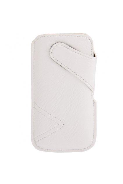 Koženkové pouzdro Pull iPhone 5/5S, white/bílá