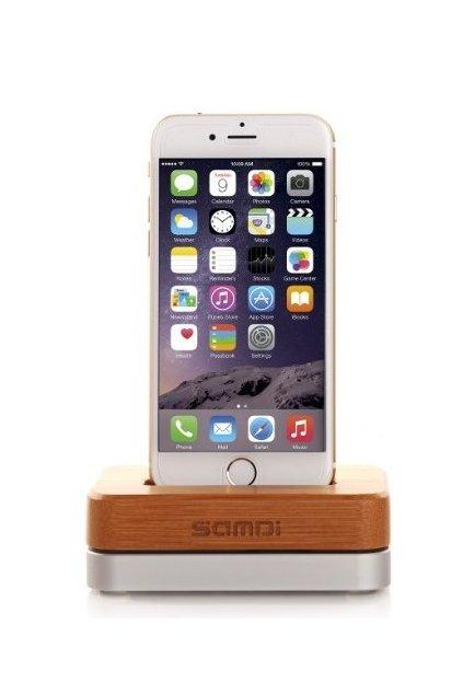 Nabíjecí stojánek SAMDI pro Apple iPhone - kombinace pravého dřeva a hliníku