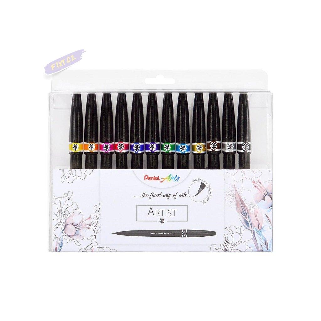 1032 5 pentel touch brush sign pen artist 12ks