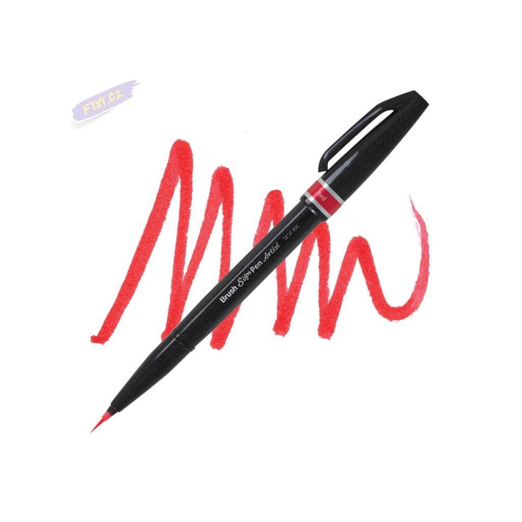 1044 5 pentel touch brush sign pen artist cerveny