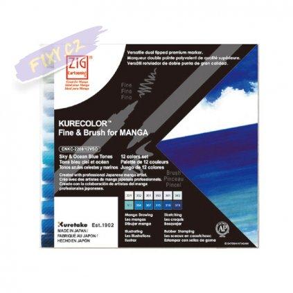 12657 2 kuretake zig kurecolor fine brush 12ks sky ocean blue