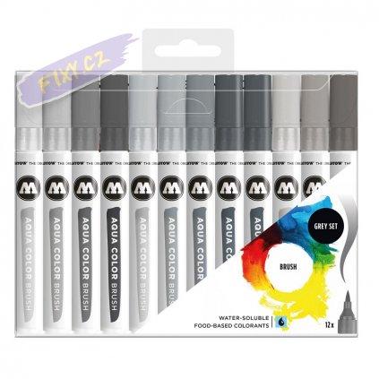 22089 4 molotow akvarelovy aqua color brush 12ks sede