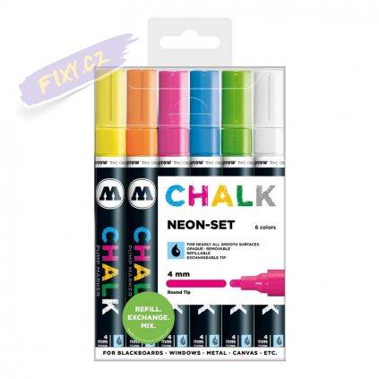 22833 3 molotow kridove chalk na sklo 4mm 6ks neonove