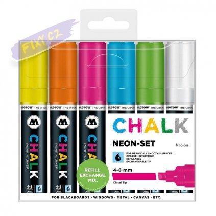 22839 3 molotow kridove chalk na sklo 4 8mm 6ks neonove