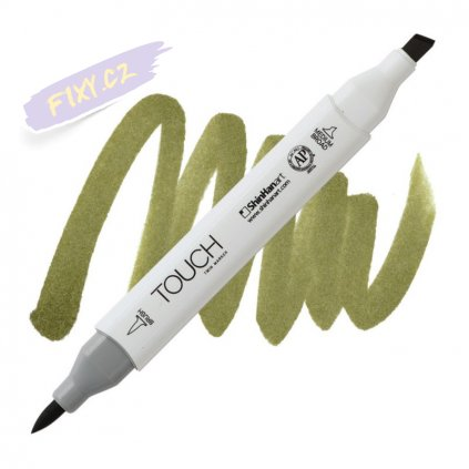 2358 2 y225 olive green dark touch twin brush marker