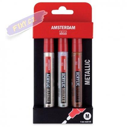 23793 2 amsterdam acrylic marker 4mm 3ks metalicke