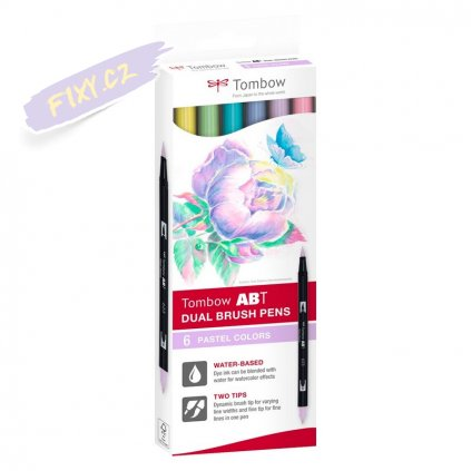 26565 2 tombow abt akvarelovy dual brush pen 6ks pastelove