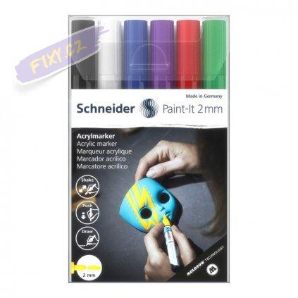30393 5 akrylovy popisovac schneider paint it 2mm 6ks zakladni