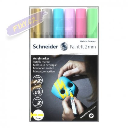 30396 5 akrylovy popisovac schneider paint it 2mm 6ks kreativni