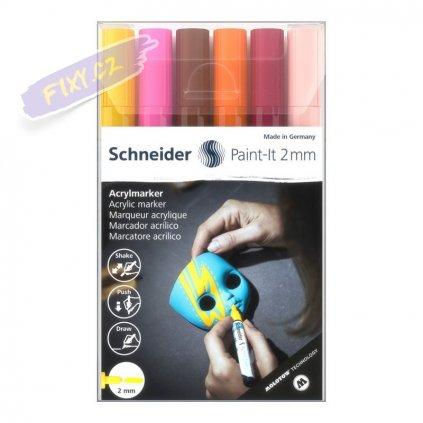 30399 5 akrylovy popisovac schneider paint it 2mm 6ks pletove