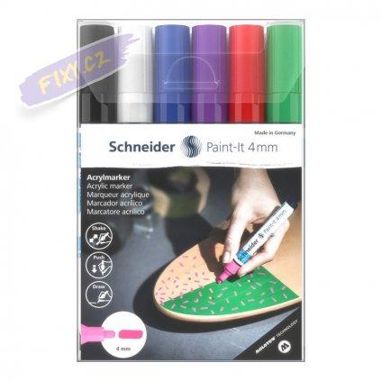 30402 5 akrylovy popisovac schneider paint it 4mm 6ks zakladni