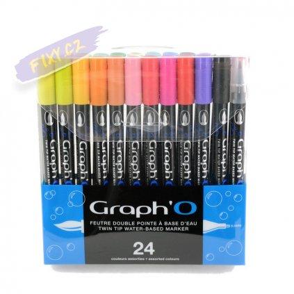 32334 5 graph o akvarelovy twin brush pen 24ks