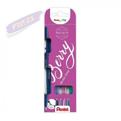 933 1 pentel touch brush sign pen 4ks berry