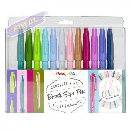 942 1 pentel touch brush sign pen 12ks