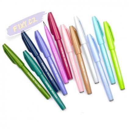 993 4 pentel touch brush sign pen modro fialovy