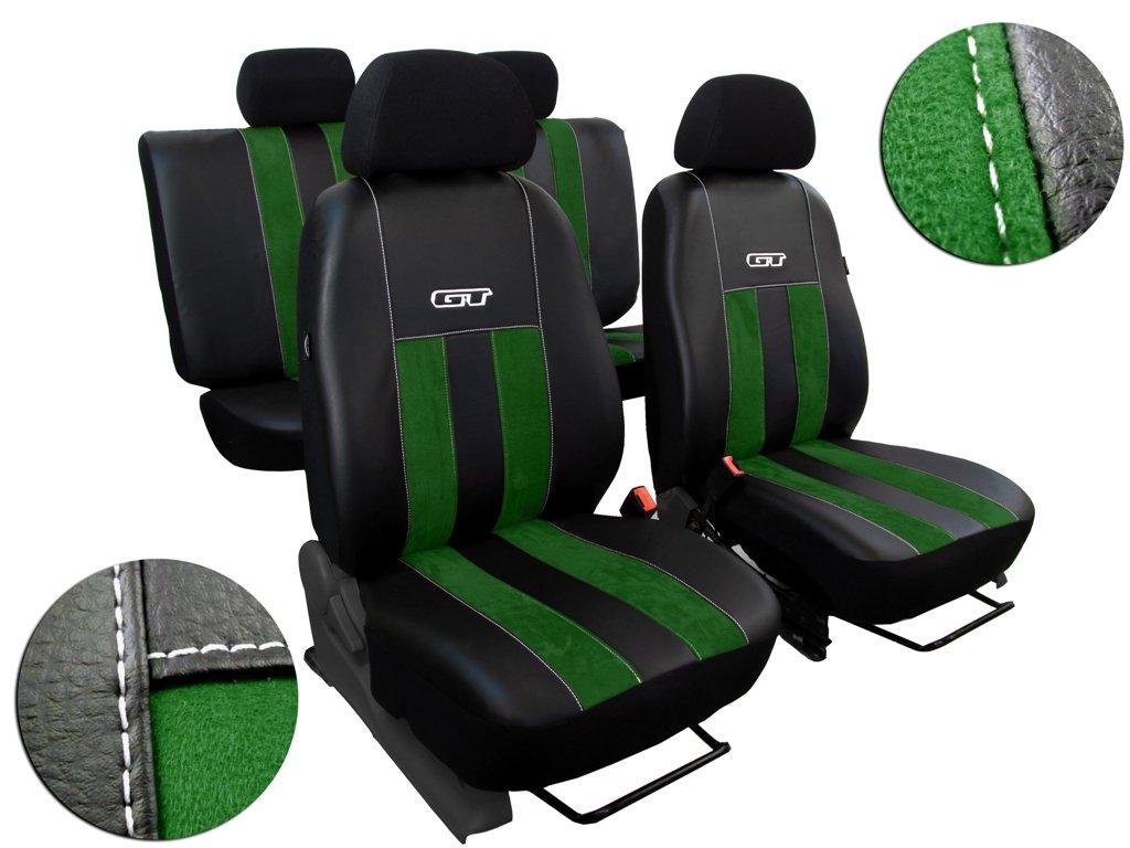 Autopotahy Volkswagen VW T4, 3 místa, GT kožené s alcantarou, zelené