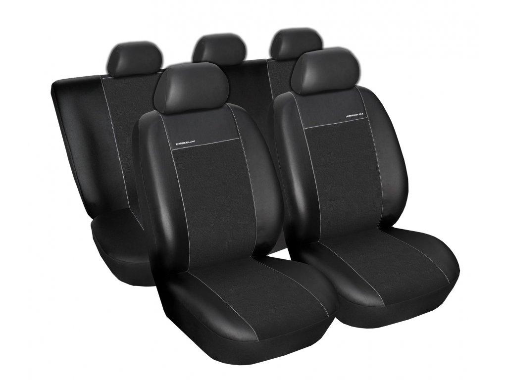Autopotahy Škoda Octavia II, dělená bez zadní loketní op. Eco kůže + alcantara černé