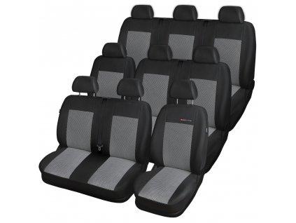 Autopotahy Volkswagen T4, 9 míst, 1+2+2+1+3, od r. 1990-2003, šedo černé