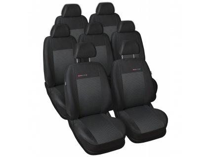 Autopotahy Volkswagen Sharan II, od r. 2010, 7 míst, dětská sedačka, černé