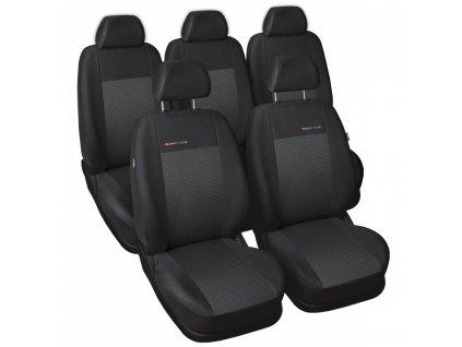 Autopotahy Volkswagen Sharan II, od r. 2010, 5 míst, dětská sedačka,černé