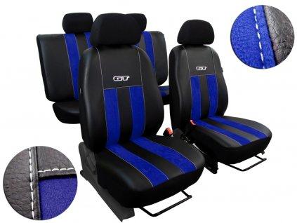 Autopotahy Peugeot Boxer II, 3 místa, stolek, GT kožené s alcantarou, modré