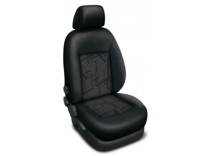 Autopotahy Škoda Fabia I, nedělená, 4 opěrky hlavy, AUTHENTIC PREMIUM, Matrix šedý