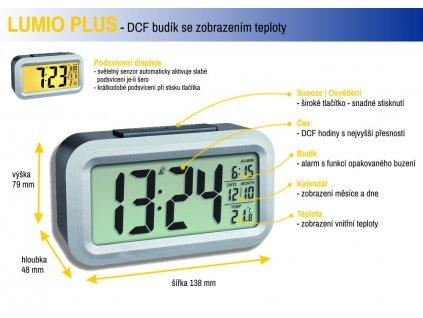 Rádiem řízený digitální budík s možností podsvícení TFA 60.2553.01 LUMIO PLUS - barva černá