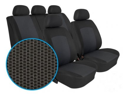 Autopotahy Škoda Fabia I, dělená, 5 opěrek hlavy, Dynamic grafit
