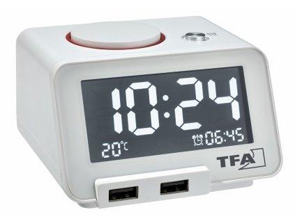 TFA 60.2017.02 - Digitální budík s funkcí USB nabíjení  Homtime - bílý