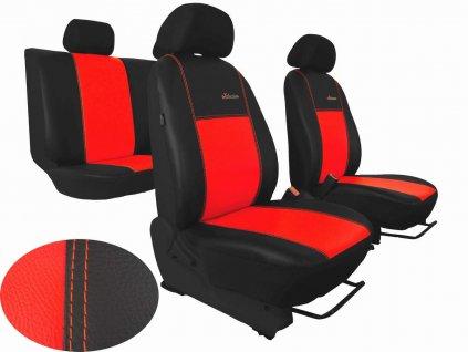 Autopotahy Škoda Fabia II, kožené EXCLUSIVE černočervené, dělené zadní sedadla