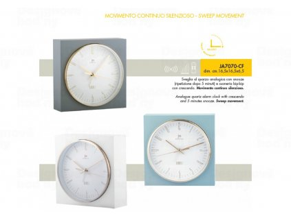 Stolní hodiny s funkci budíku JA7070B Lowell 16cm