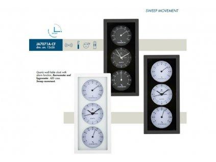 Nástěnné-stolní hodiny s teploměrem a vlhkoměrem JA7071N Lowell 26cm