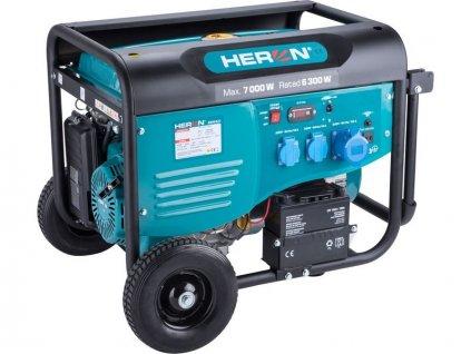 Elektrocentrála benzínová 7,0kW/15HP, pro svařování, el. start, podvozek HERON