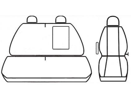 Autopotahy Volkswagen Crafter, 3 místa, od r. 2006, černé