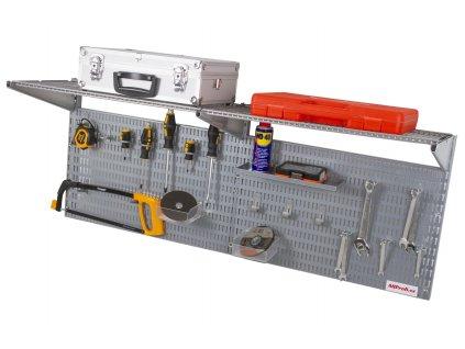Děrovaná deska včetně dvou polic a příslušenství 1200x380x16mm - AL8030