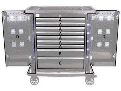 Dílenský vozík Titan s nářadím 405 ks, černý - TBR0109-XBBAL2   AHProfi