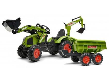 AKCE - FALK Šlapací traktor 1010W Claas Axos s nakladačem, rypadlem a vlečkou