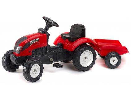 AKCE - FALK Šlapací traktor 2058J Garden master červený s vlečkou