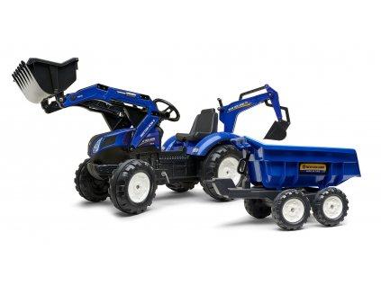 FALK Šlapací traktor 3090W New Holland T8 s nakladačem, rypadlem a maxi vlečkou