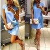 Dámské mini šaty s volným střihem a krátkým rukávem modré (Velikost XL)