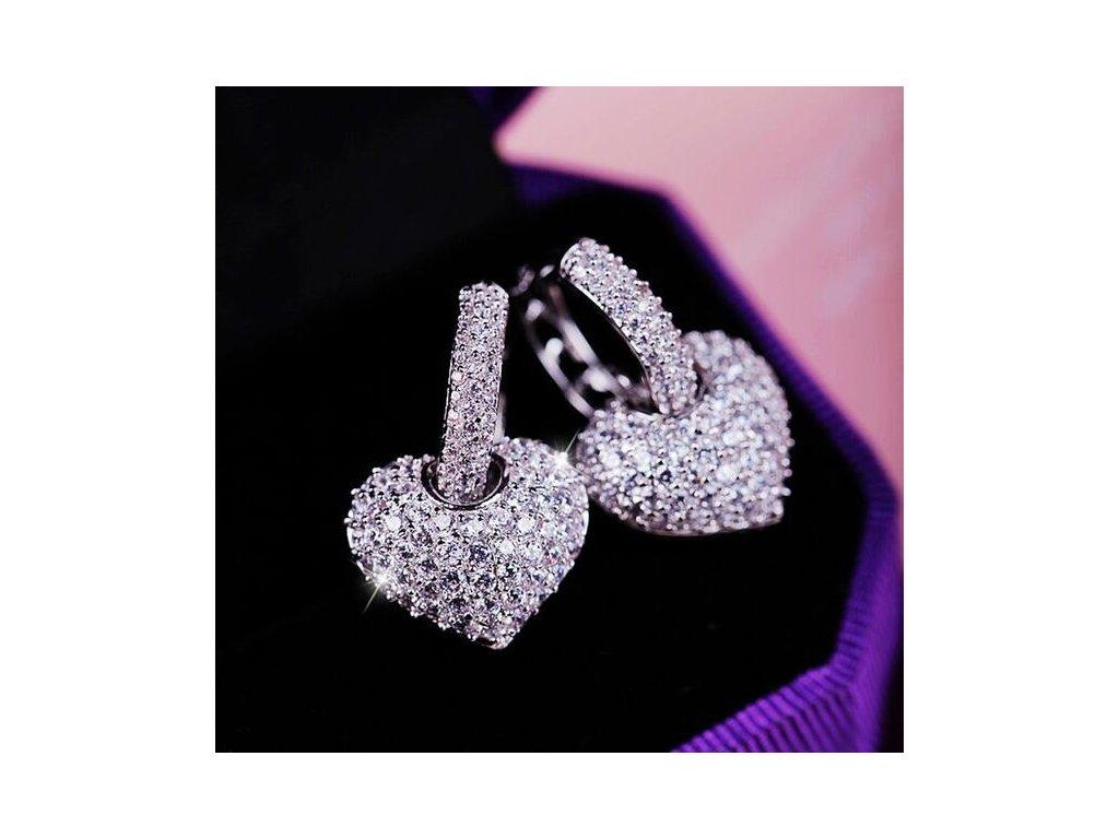 632e9bf0c Luxusní stylové náušnice se srdcem a zirkony šperky na svatbu - FLARO.CZ