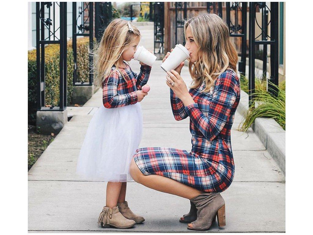 Dámské a dívčí společenské kostkované šaty NOVINKA - FLARO.CZ a603bf3829