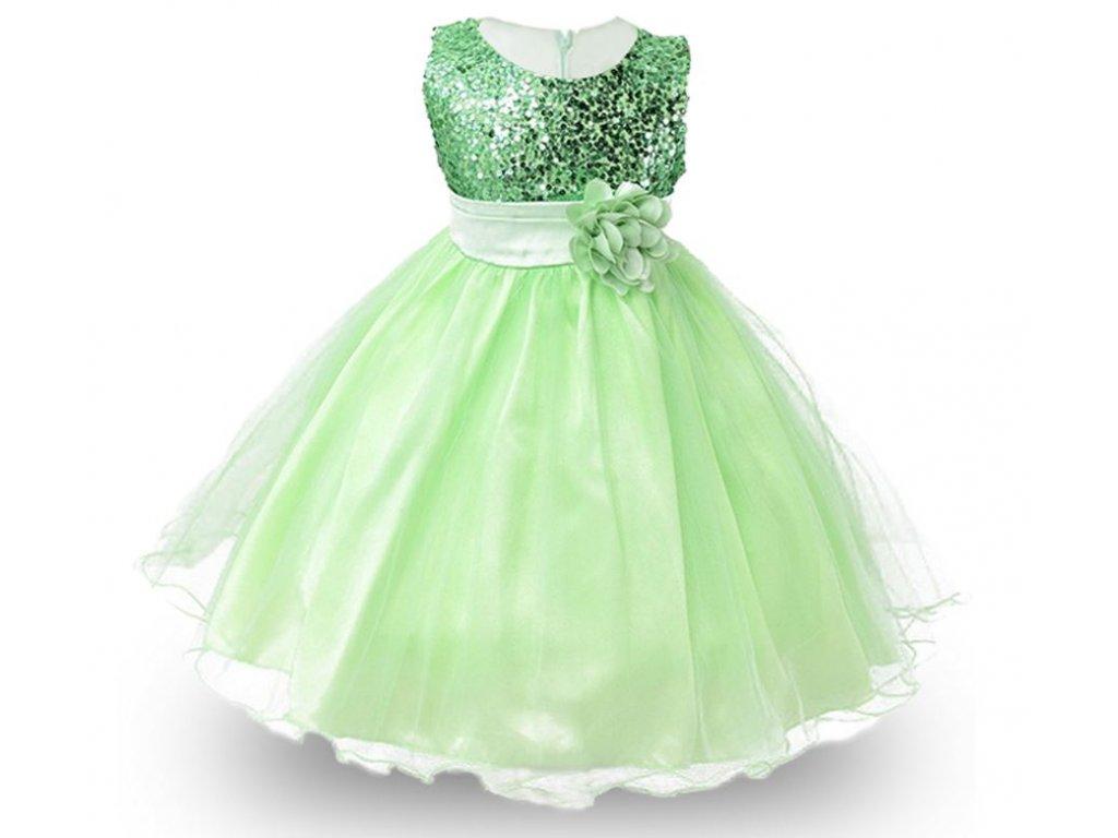 f85163c6055 Dětské slavnostní společenské šaty zelené pro družičku s flitry ...