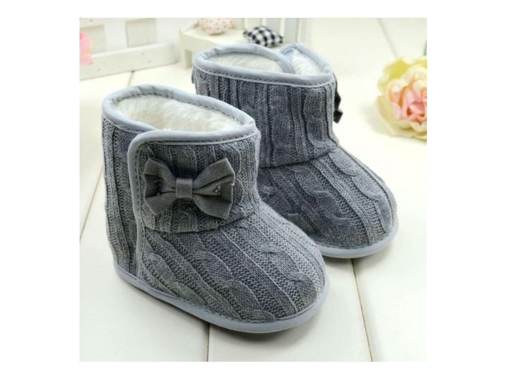 Dětské boty- teplé zimní válenky s kožíškem a mašličkou šedé f85f871686
